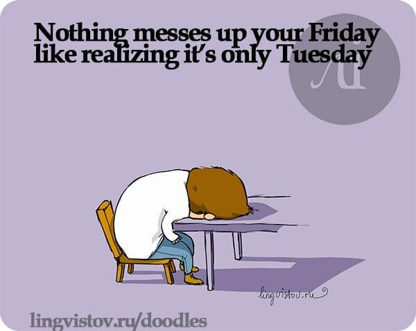 Dni tygodnia po angielsku wtorek