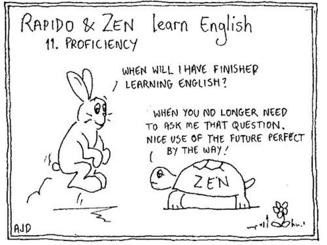 tiempo perfecto, futuro perfecto, gramática inglesa, chistes, conejo y tortuga