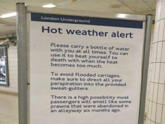 pogoda w anglii, londynie, heatwave, metro, tube