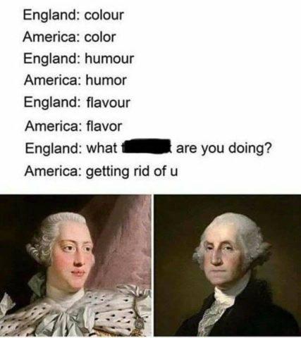 róznice między amerykańskim a angielskim brytyjskim, literka u