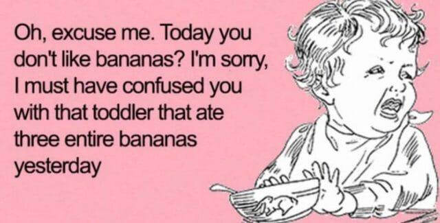 memy o rodzicielstwie dzieciach i rodzicach, banany po angielsku,