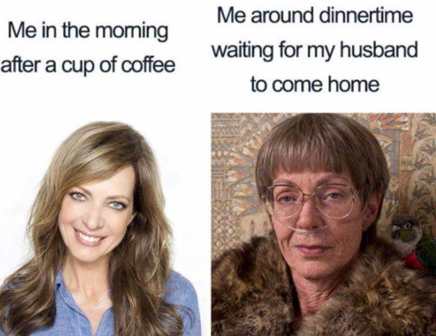 before and after, rano, matka, śmieszne memy o rodzicielstwie, rodzicach i dzieciach