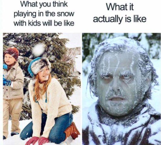 zima, śnieg, święta bożego narodzenia, śmieszne memy o rodzicielstwie, rodzicach i dzieciach