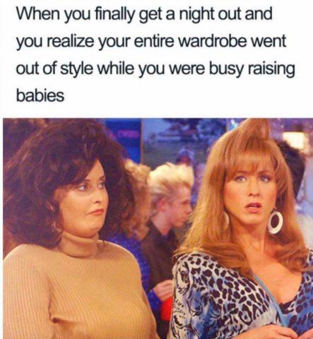 kobiety, moda, 80., śmieszne memy o rodzicielstwie, rodzicach i dzieciach