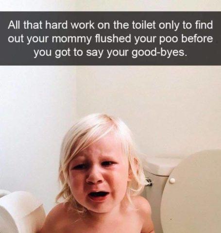 toaleta, ubikacja, Płaczące dzieci w śmiesznych memach po angielsku
