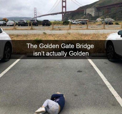 Golden Gate Bridge, San Francisco, Płaczące dzieci w śmiesznych memach po angielsku, parking