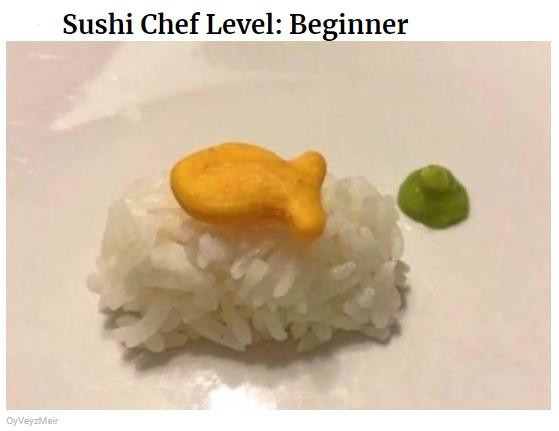 gotowanie po angielsku w memach do nauki, sushi