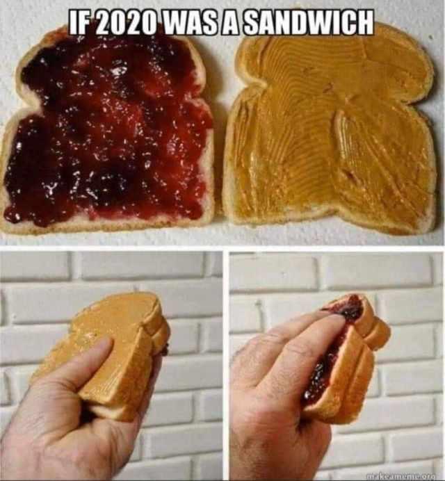 angielskie memy 2020 podsumowanie roku śmieszne kanapka