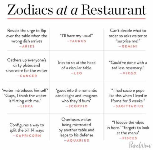 signos del zodiaco en inglés en un restaurante