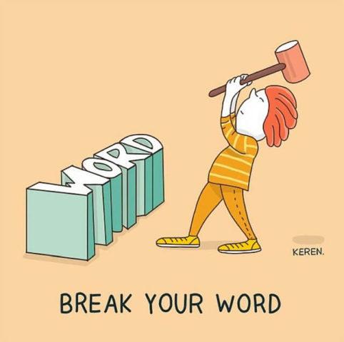 populární anglické idiomy v zábavných a vtipných obrázcích, break words