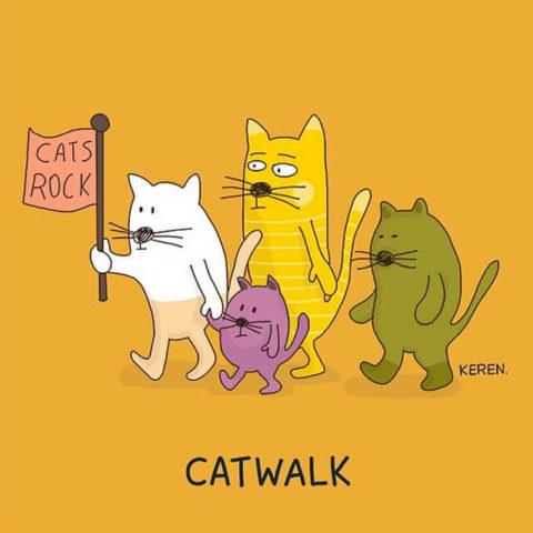 Populární anglické idiomy v zábavných a zábavných obrázcích, catwalk
