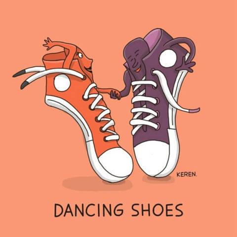populární anglické idiomy v vtipných a zábavných obrázcích, dancing shoes