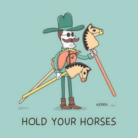 populární anglické idiomy v legračních a zábavných obrázcích, hold horses, stop