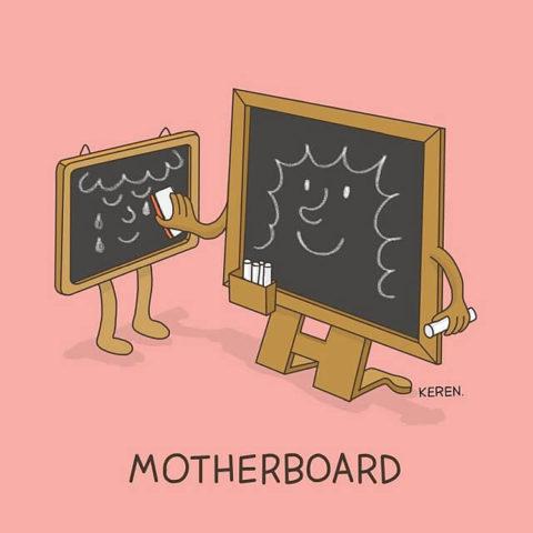 populární anglické idiomy v legračních obrázcích, motherboard