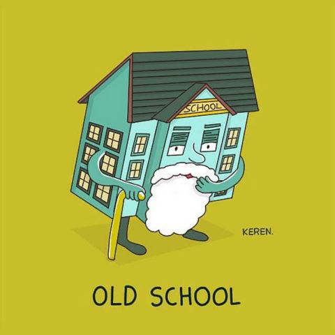 populární anglické idiomy v obrazech, old school, škola, kreslení