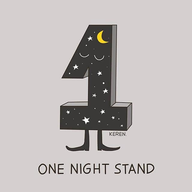 populární anglické idiomy v legračních obrázcích, one night stand, noc