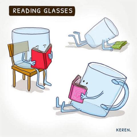 populární anglické idiomy v obrazech, brýle, čtení