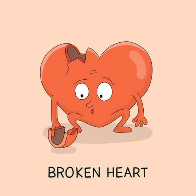 populární anglické idiomy v obrazech, broken heart, srdce, láska