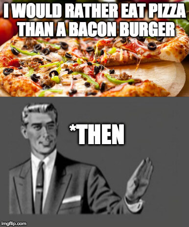 then czy than różnica pizza burger